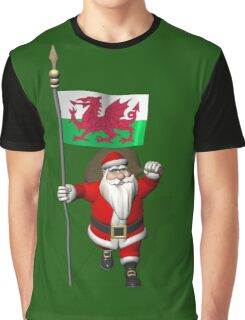 Santa Claus With Flag Of Wales Graphic T-Shirt