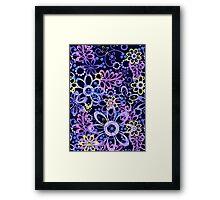 Summer night floral pattern Framed Print