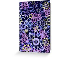 Summer night floral pattern Greeting Card