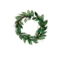 Beautiful green summer wreath iluustration Photographic Print