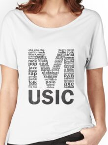 Music genres on chalkboard Women's Relaxed Fit T-Shirt