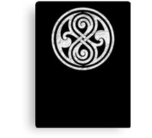 Seal of Rassilon - Classic Doctor Who - White on Black (Distressed) Canvas Print