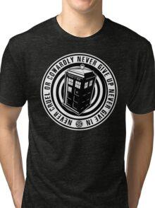 Never Cruel Or Cowardly - Doctor Who - Black TARDIS Tri-blend T-Shirt