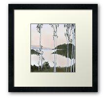 Digitally Drawn Birch Tree Landscape Framed Print