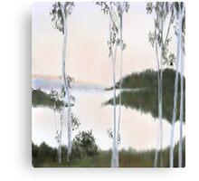 Digitally Drawn Birch Tree Landscape Canvas Print