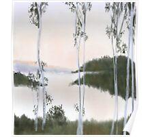 Digitally Drawn Birch Tree Landscape Poster