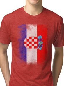Croatia Flag Proud Croatian Vintage Distressed Shirt Tri-blend T-Shirt