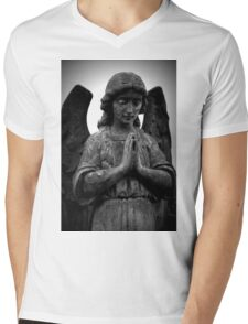Stone Angel Praying Mens V-Neck T-Shirt