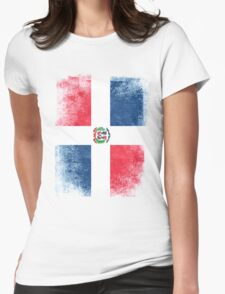 Dominic Republic Flag Dominican Vintage Distressed Womens Fitted T-Shirt