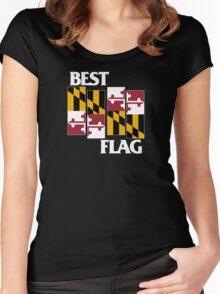 Best Flag, White on Black Women's Fitted Scoop T-Shirt