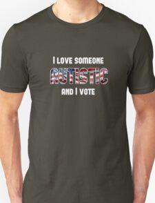 Love Autistic and Vote - USA - dark background Unisex T-Shirt