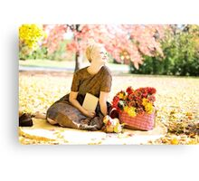 beautiful woman in the autumn  Canvas Print