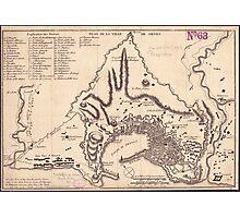 Vintage Map of Genoa Italy (1823) Photographic Print
