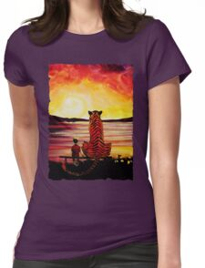 Calvin and Hobbes Art Painting Womens Fitted T-Shirt