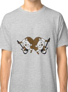 band konzert duo 2 freinde team cool elektro gitarre spielen party musik hard rock heavy metal comic cartoon süßer kleiner niedlicher igel  Classic T-Shirt