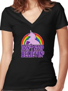 Don't Stop Believin' in Unicorns Women's Fitted V-Neck T-Shirt
