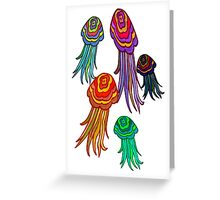 Wibbly Wobbly Jellyfishes Greeting Card