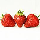 Three Strawberries On White (H) by Alan Harman