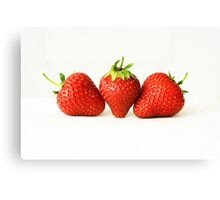 Three Strawberries On White (H) Canvas Print