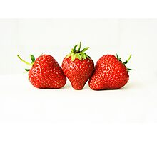 Three Strawberries On White (H) Photographic Print