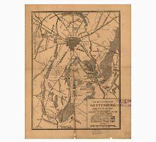 Vintage Map of The Gettysburg Battlefield (1863) Unisex T-Shirt