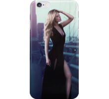 sexy blonde woman in long black dress iPhone Case/Skin
