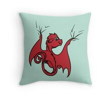 Red Dragon Rider Throw Pillow