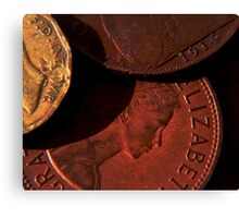 Old Coins Close Up Canvas Print