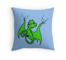 Green Dragon Rider Throw Pillow