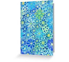 blue flower pattern Greeting Card