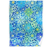 blue flower pattern Poster