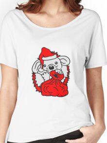 baby weihnachten weihnachtsmann nikolaus winter geschenke sack mütze santa klaus süßer kleiner niedlicher igel  Women's Relaxed Fit T-Shirt
