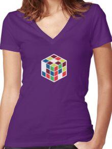 Rubik's Cube - Neon Body White Large Women's Fitted V-Neck T-Shirt
