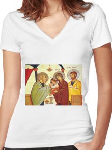 Presentation of Jesus at the Temple Women's Fitted V-Neck T-Shirt
