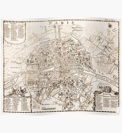 Vintage Map of Paris France (1742) Poster