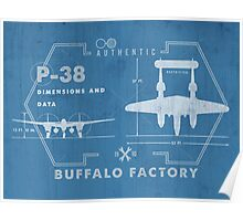 Buffalo Factory- P38 Blueprint Poster