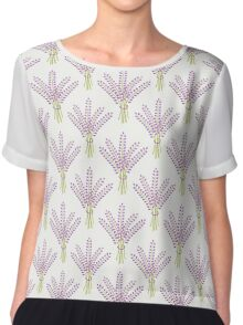 Lavender bouquet seamless pattern. Cute nature background.  Chiffon Top