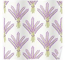Lavender bouquet seamless pattern. Cute nature background.  Poster