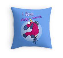 i love fluffy unicorns 2 Throw Pillow