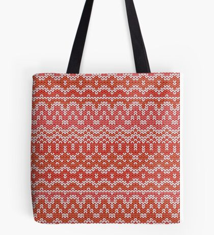 Red seamless knitting pattern. Winter ornament background Tote Bag