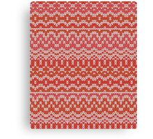 Red seamless knitting pattern. Winter ornament background Canvas Print