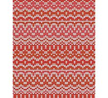 Red seamless knitting pattern. Winter ornament background Photographic Print