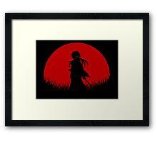Red Moon Samurai Framed Print
