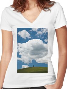 A lone tree under a heavy white cloud Women's Fitted V-Neck T-Shirt