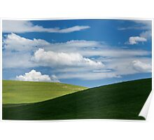 White clouds above green hills Poster