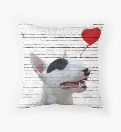 English Bull Terrier Banksy Style Throw Pillow