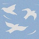 Shadow birds white and blue by maria paterson