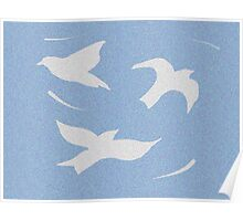 Shadow birds white and blue Poster