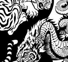 taekwondo beast dragon tiger korean martial art sport kick dark or black shirt  Sticker