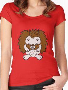 baby kind schnuller windel stehender süßer kleiner niedlicher igel  Women's Fitted Scoop T-Shirt